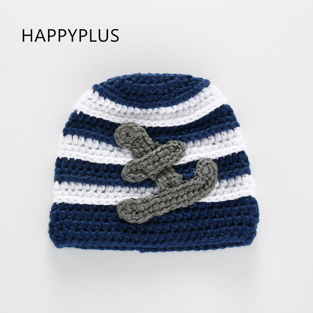 2017 Newborn Baby Boy S Navy Blue Handmade Crochet Hats With Anchor