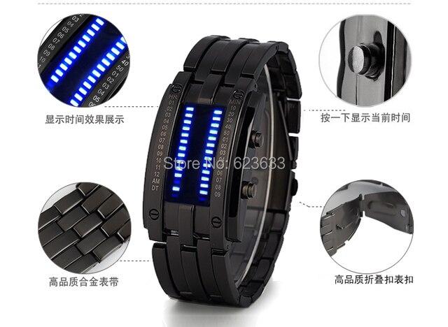 Reloj LED Mujeres de Los Hombres de acero lleno 30 m Impermeable Relojes Luminosos Deportes Novedad Corea Relojes de Pulsera Azul del Binario led Displayer