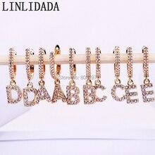 10 Pair Micro Asfaltata zircone Cubico CZ Oro 26 lettere di Alfabeto ciondola gli orecchini regalo per le donne