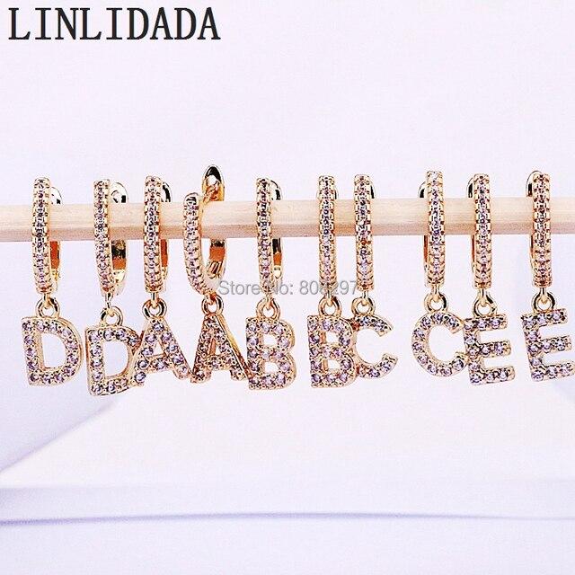 10 para mikro wysadzane cyrkonią sześcienną CZ złoty 26 litery alfabetu dynda kolczyki prezent dla kobiet