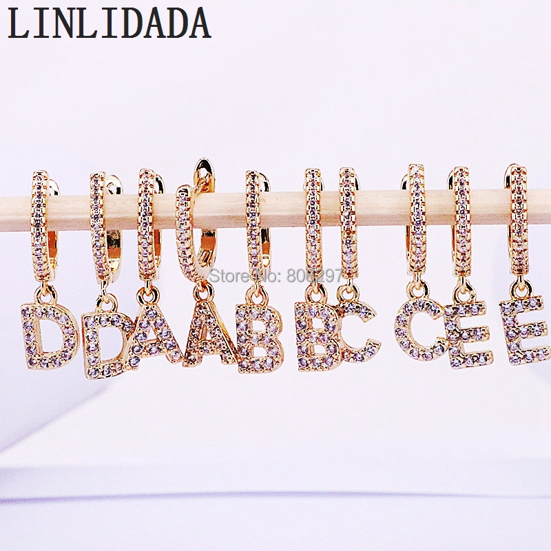 10Pair Micro Paved Cubic zircon CZ Gold 26 Alphabet letters dangle earrings gift for women-in Drop Earrings from Jewelry & Accessories    1