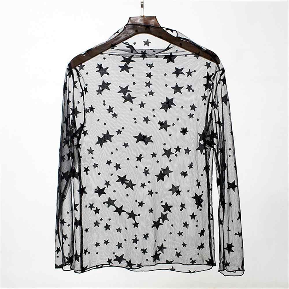 メッシュ底入れシャツ透視レースフック花ガーゼレディース長袖の黒ドット星ストライプシャツ