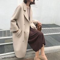 New Autumn Women Coats Vestidos Plus Size Casual Loose Turn Down Single Breasted Woolen Blends Coats For Women Large Outerwear