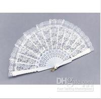 50pcs/lot wedding NEW! WHITE LACE SMALL HAND Hand Fans FANCY DRESS GEISHA / SPANISH LADY h125