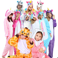 Boys Girls Cute Unicorn Pegasus Stitch Panda Pajamas Hooded Winter Flannel Animal Cartoon Pajamas For Children