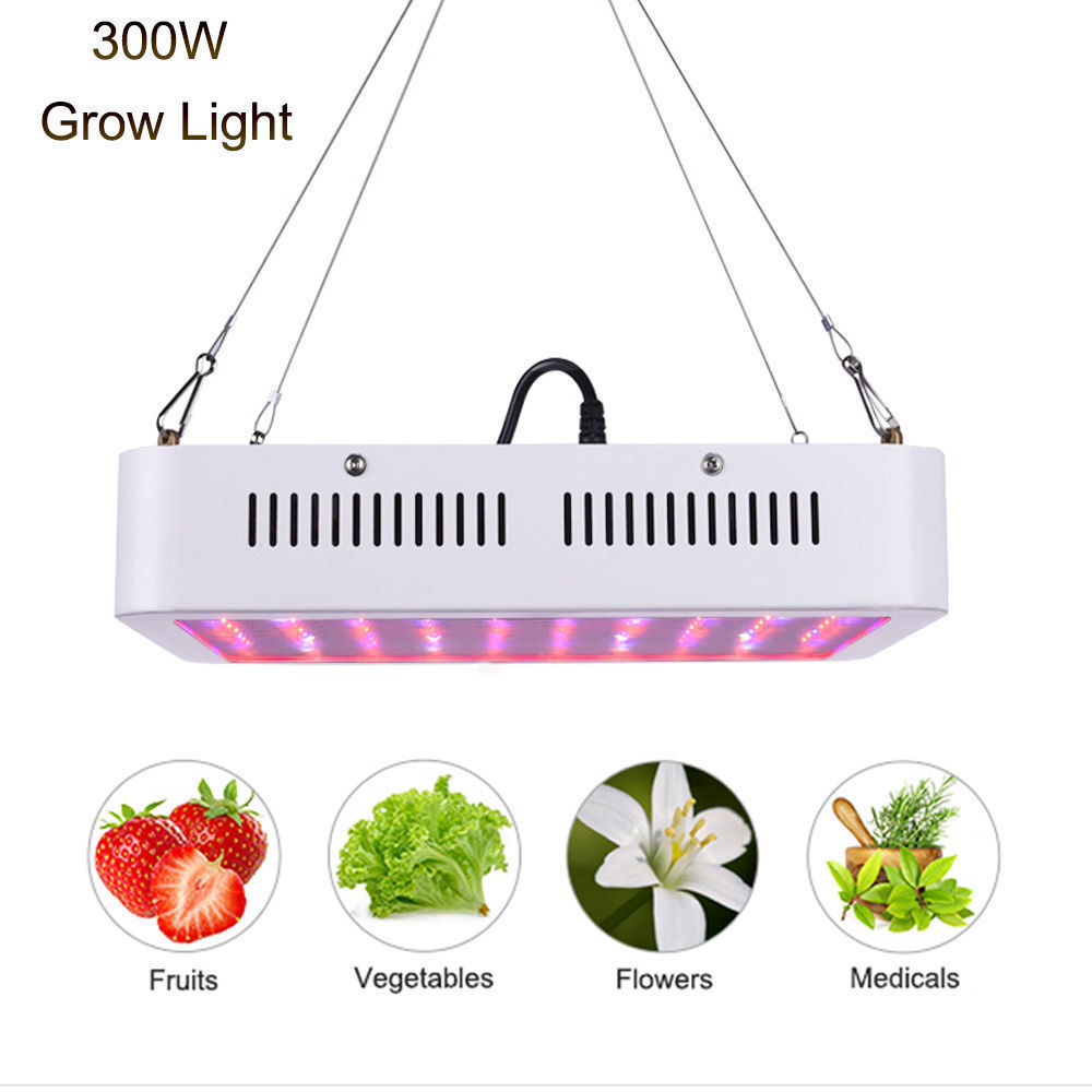 300W LED Grow Light Full Spectrum Grow Lamp for Indoor Greenhouse Plant Fruit Vegetables Flower Growing IR UV Panel Lamp Bulb  3pcs newest ufo 150w led grow light full spectrum 50x3w led chip plant growing lamp for flower vegetables express free shipping