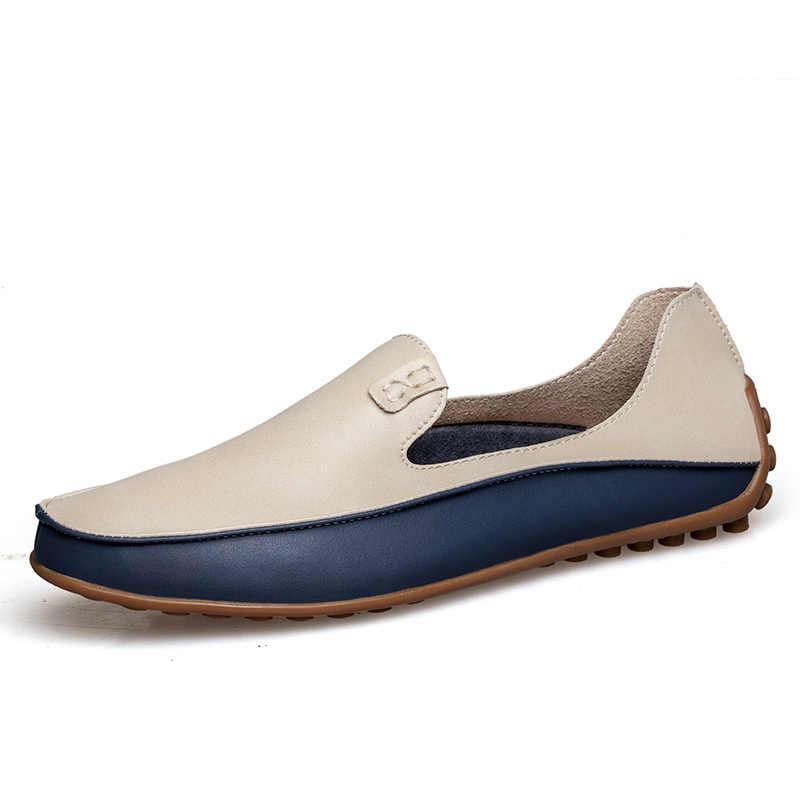 PUPUDA Fashion Lederen Schoenen Voor Mannen Nieuwe Slip Op Loafers Plus Size 47 Casual Rijden Schoenen Breed 2019 Business Schoenen sneaker Mannelijke