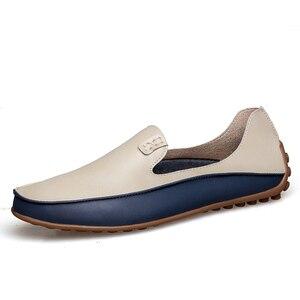 Image 1 - PUPUDA موضة أحذية من الجلد للرجال جديد الانزلاق على المتسكعون حجم كبير 47 أحذية قيادة عادية واسعة 2019 حذاء رسمي حذاء رياضة الذكور