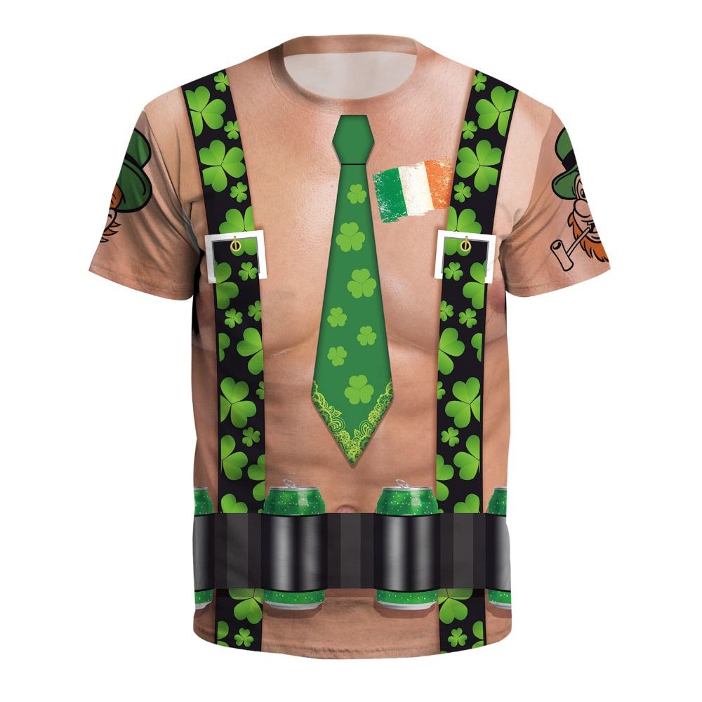 af6e095b19 Funny 3D Print Clover Fake Tie Straps Tshirt Men/women Hiphop Rock T-shirt  Boy Cool Hipster Tee T shirt Flesh Tops Man Clothes