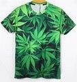Harajuku 2016 мода женщины / мужчины сорняк конопля листьев печать галактика бренд 3d латекс-сливовый листья пуловеры футболку Большой размер M-XXL