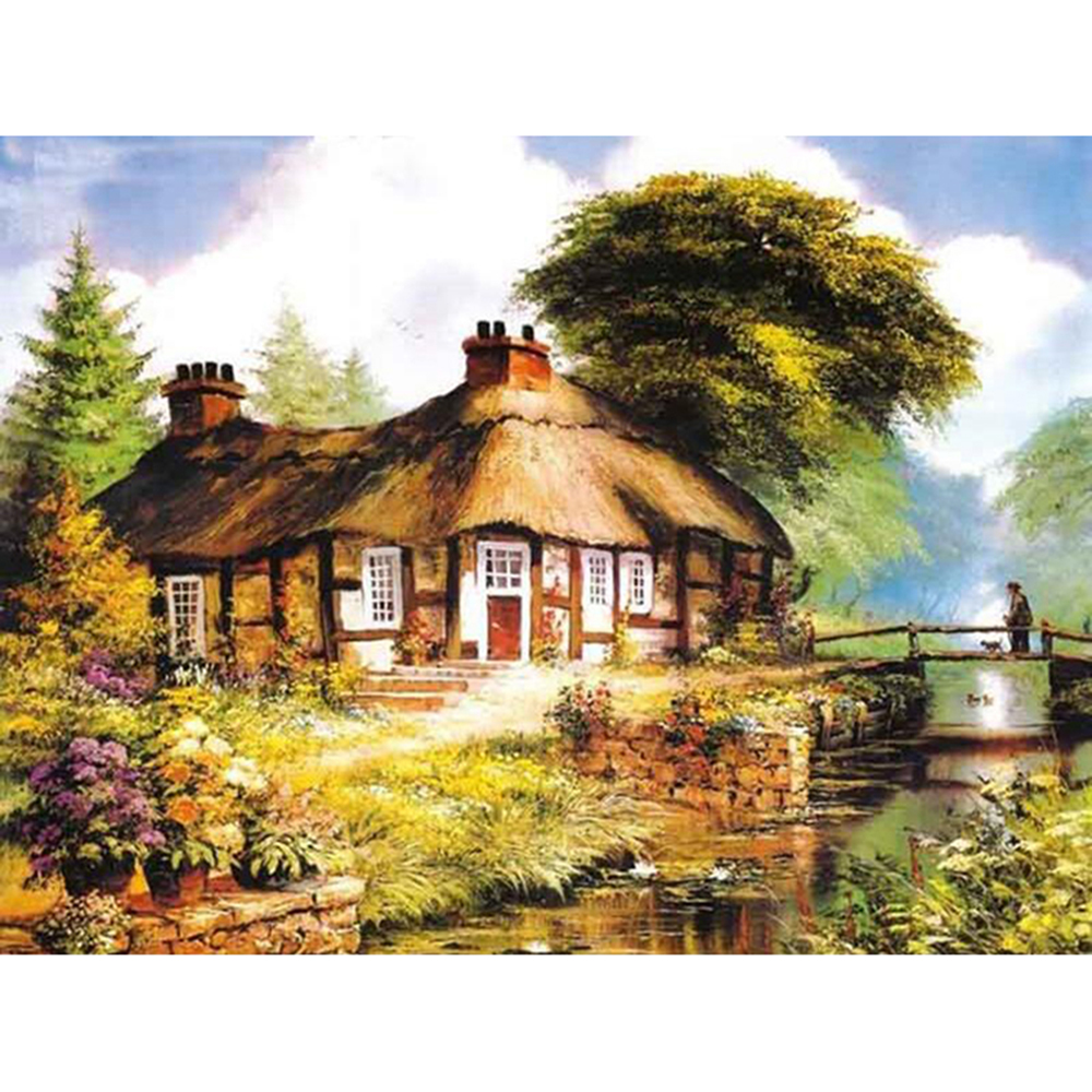 Diamond Painting Full drill squareround Thatched cottage Mosaic DIY Diamond Painting Cross Stitch Embroidery Home Decor