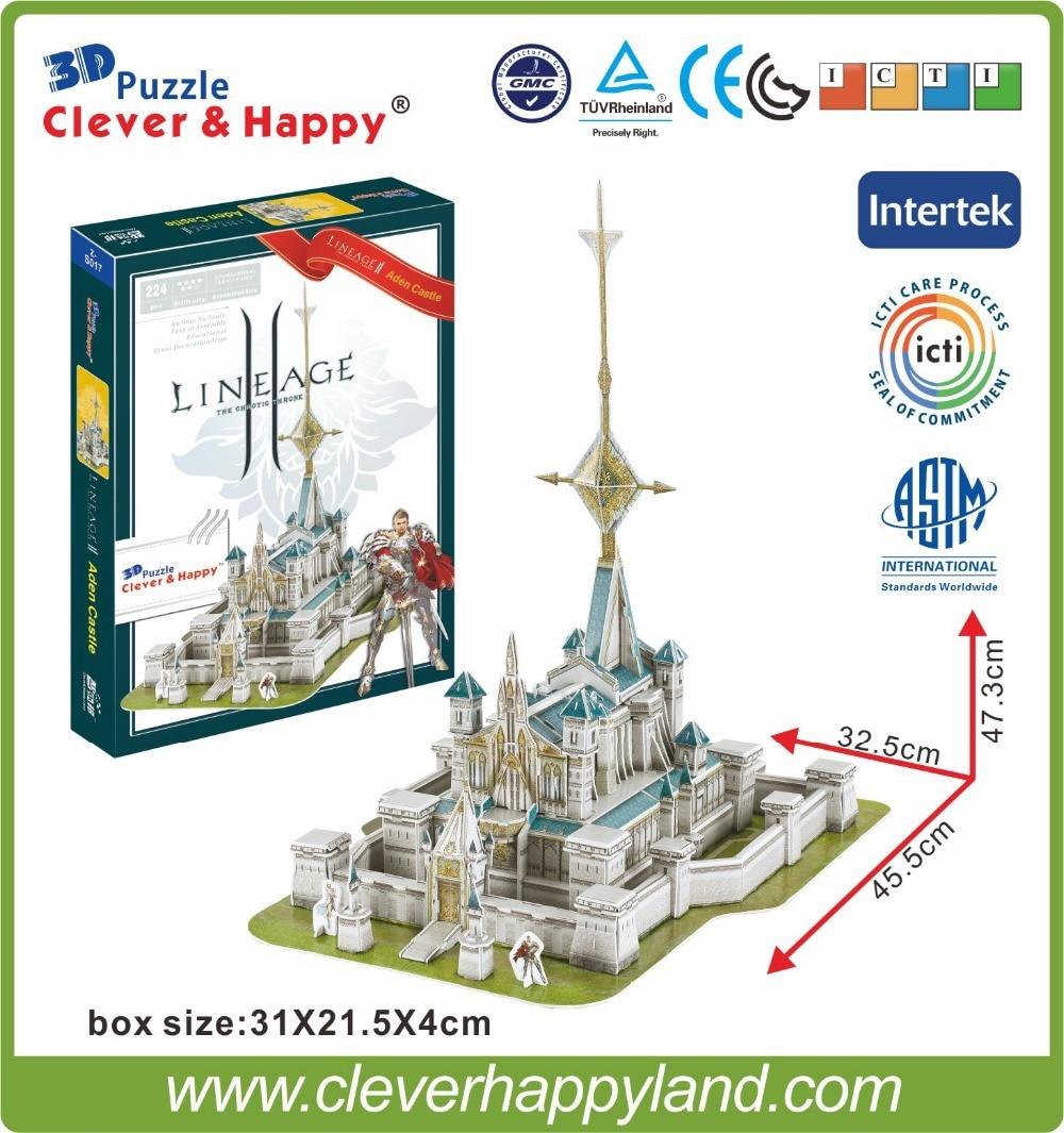 Best Selling Toy 3d Puzzle Game Lineage 2 Aden Castle Paper Model 224PCS