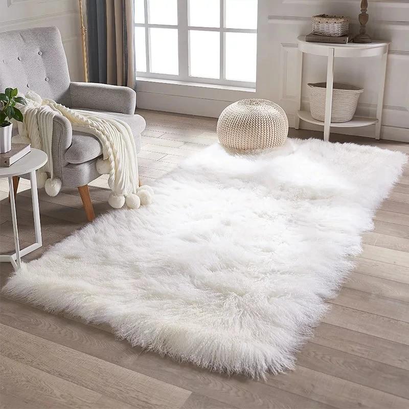 tapis en peau de mouton mogolian naturel de grande taille 120 240cm tapis de chevet en fourrure de mouton tibet coussin de canape decoration en