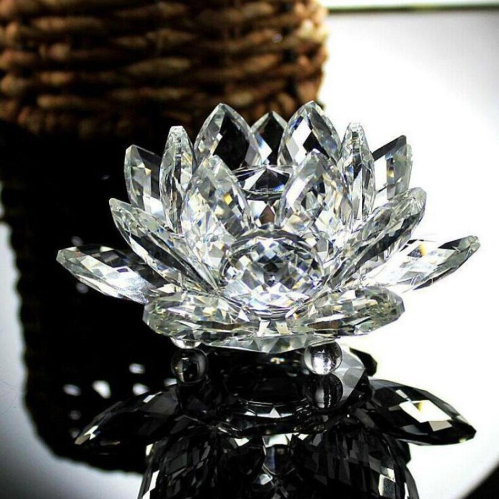 80mm~200mm Crystal Lotus Flower Fengshui Paperweight Clear Glass Office Table Shelves Decor Collection Gift Hot Sale|Figurines & Miniatures| |  - title=