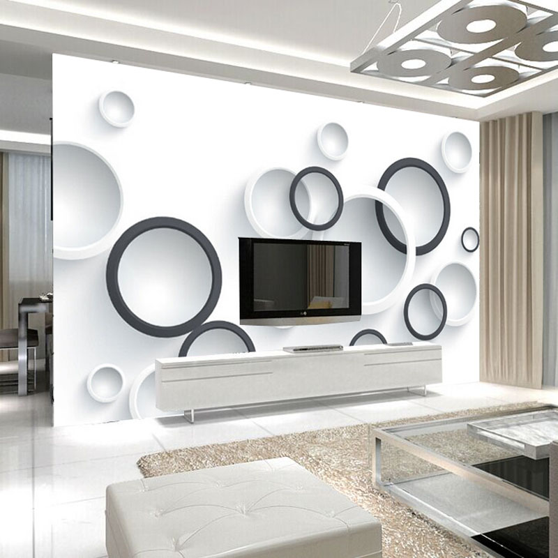 Custom Mural Wallpaper Modern Wall Painting 3D Stereoscopic Black And White Circles Living Room TV Backdrop Wallpaper Murals 3D brooklyn black and white wallpaper mural photo wallpaper 3d mural large wall painting mural backdrop stereoscopic wallpaper