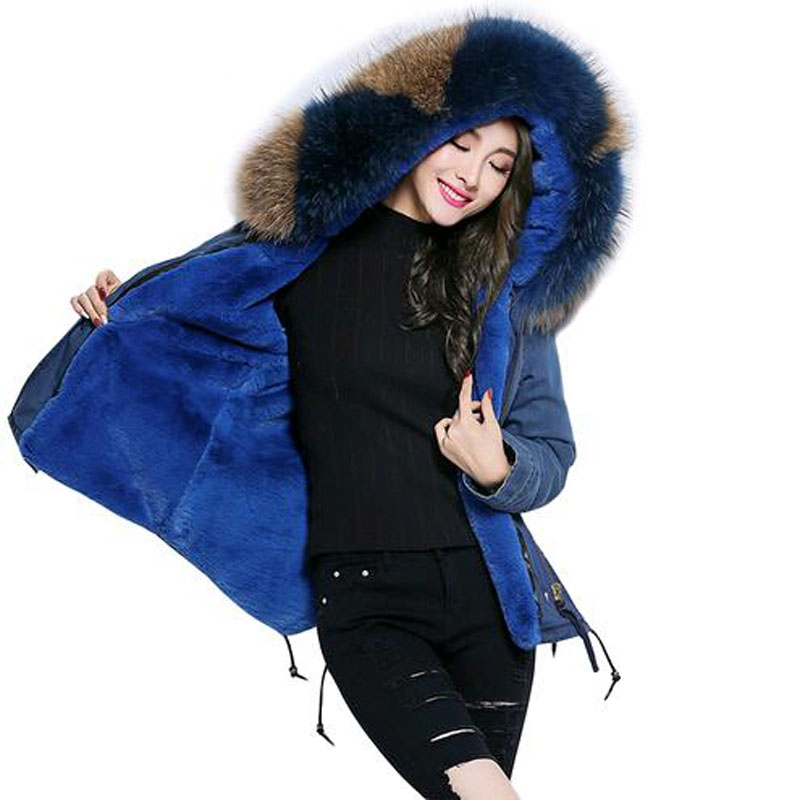 Winter Coat Women Fur Collar 2017 New Denim Parka With Thick Large Real Raccoon Fur Collar Detachable Fur Liner Women Clothing 2017 winter new clothes to overcome the coat of women in the long reed rabbit hair fur fur coat fox raccoon fur collar