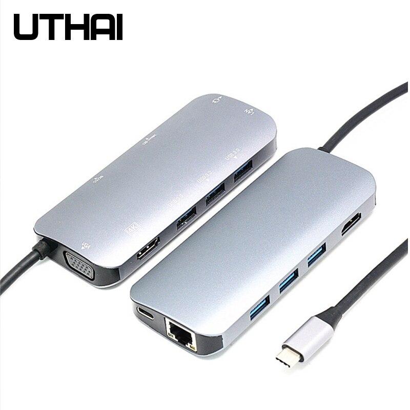 UTHAI J09 type-c 9in1 Multi USB 3.0 HUB HDMI adaptateur Dock pour MacBook Pro accessoires Usbc 3.1 séparateur 3 ports USB C lecteur de carte