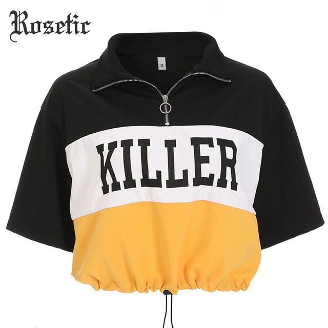 Rosetic Gothic Summer Casual Short T Shirt Black Letter Print Color Block Drawstring Zipper Turn Down Neck Chic Street Crop Tees by Rosetic