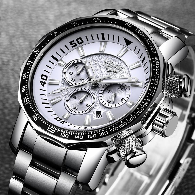 LIGE Heren Horloges Topmerk Luxe Waterdicht 24 uur Datum Quartz - Herenhorloges - Foto 3