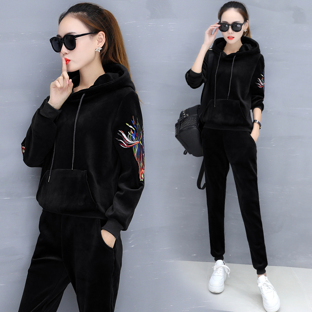 908f92a04fc set autumn outfit 2017 fall and winter of hoody korean fashion comfortable  leisure fleece two-piece women hoodies pants clothing