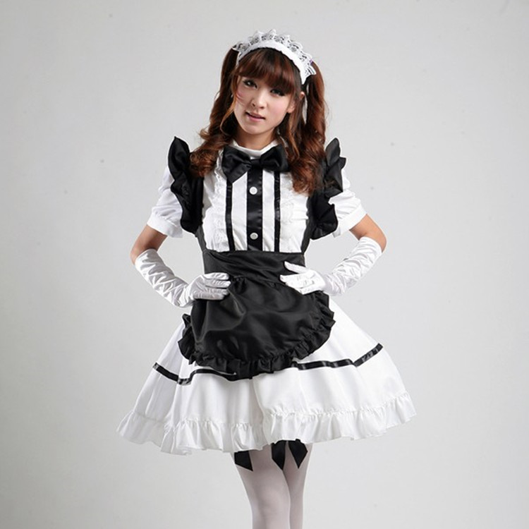 Fancy Dress Women Girls Lolita Maid Waitress Costume Cosplay w// Bow Hairband