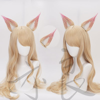 LOL League of Legends KDA Ahri Cosplay Wig Long Straight Blonde Curly Synthetic Hair + Ears +Wig Cap