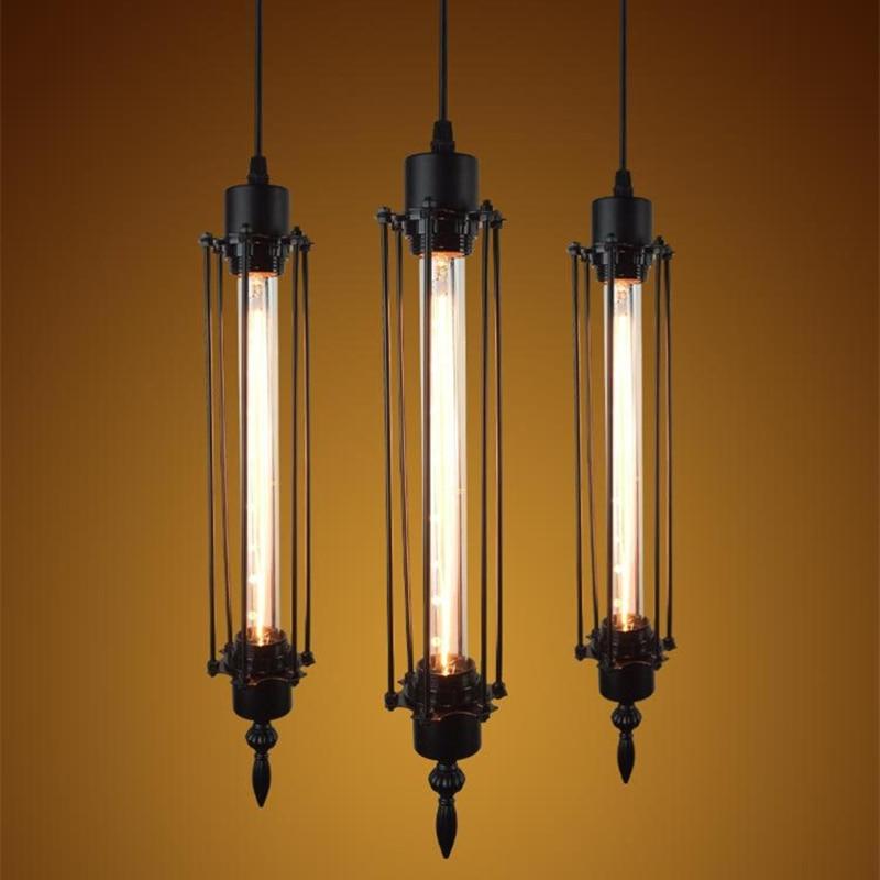 Moderne hanglamp zwart ijzer hangende kooi Vintage schrijfborstel - Binnenverlichting