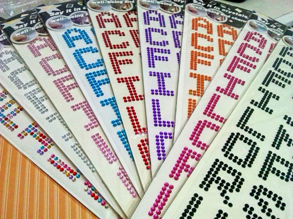 5 sheets 3cm height letters rhinestone stickers scrapbooking tape adhesive gem crystals diamonds photo paper wedding