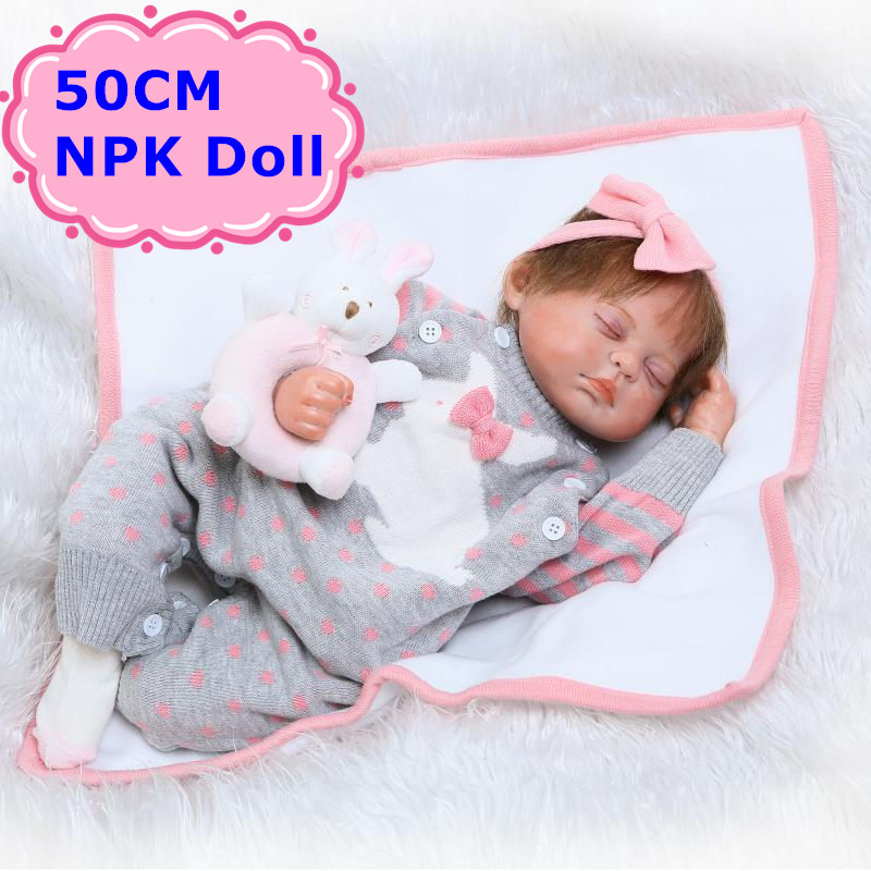 50cm NPK Soft Silicone Bebe Reborn Dolls Real-Looking Sleeping Baby Doll Baby Kids Play House Toys Brinquedo Girls Birthday Gift npk 22 inch 55 cm silicone reborn baby doll real looking newborn baby soft dolls bebe kids gift reborn bonecas