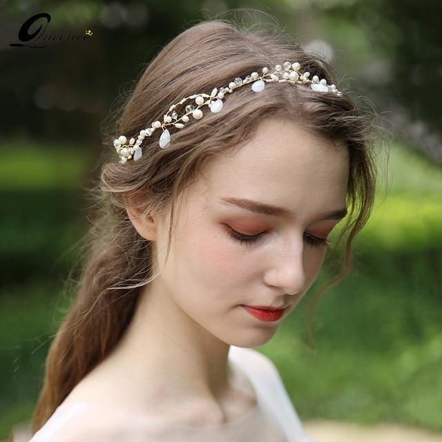 Gorgeous Tiara Gold Pearls Wedding Headband Hair Accessories Handmade  Bridal Hair Vine Headpiece for Women Party Prom 788ee35e92cf