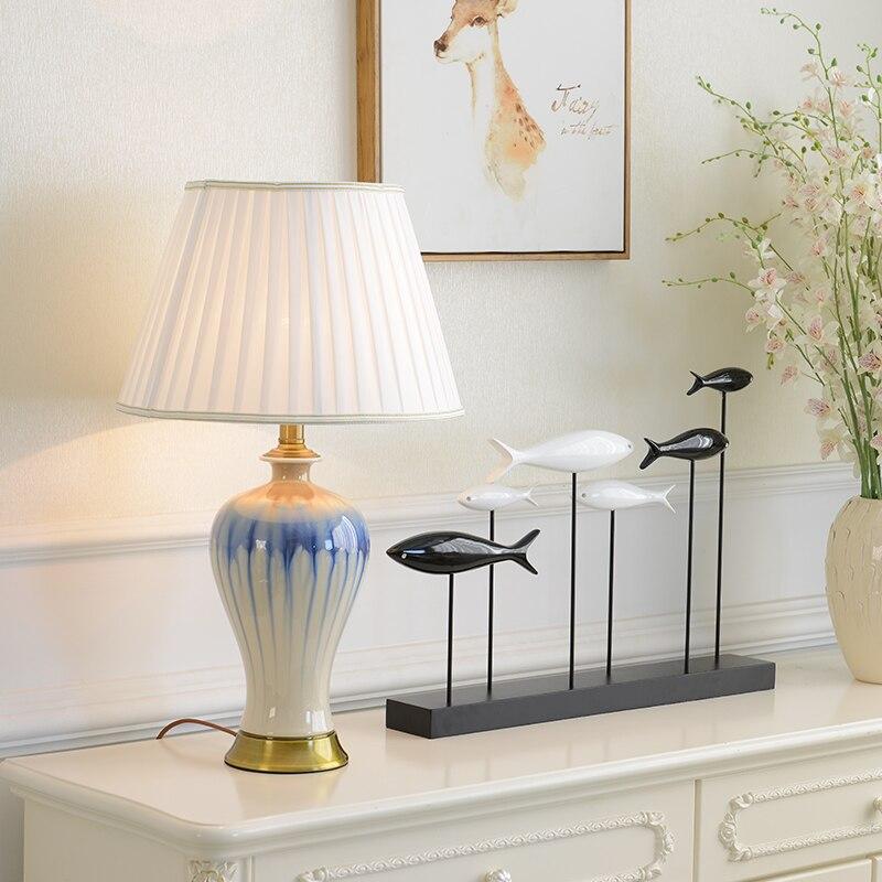 Ceramic table lamp modern american living room energy - Porcelain table lamps for living room ...