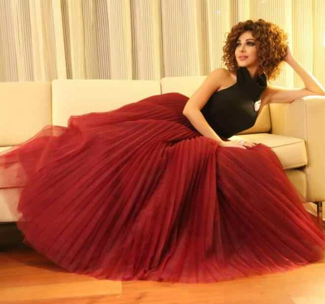 81fa12837f ... Simple Myriam Fares Red/Black Evening Dresses Halter Corset Back  Lebanon Fashion Pleated Skirt Saudi