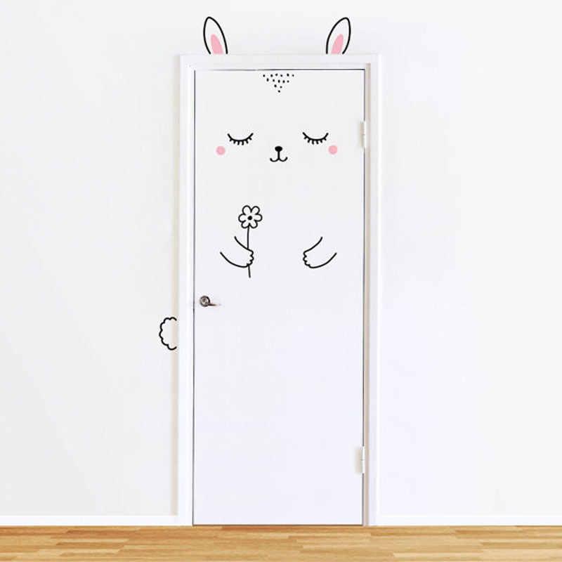 10 видов мультяшных милых животных, панды, кошки, наклейки на дверь для детской комнаты, декоративные наклейки на стены, домашний декор, наклейки на стену