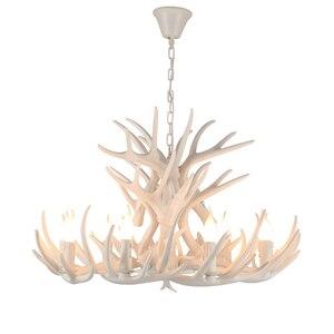 Image 2 - Marrom Branco Resina Antler Chandelier Iluminação Do Vintage 4/6/9 Braços E14 Luminárias Lustres de Luxo Para Casa