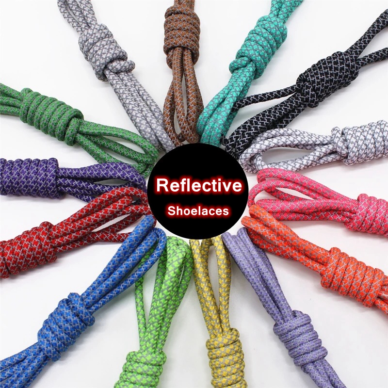 1Pair 3M Reflective Shoe Laces Round Sneakers ShoeLaces Kids Adult Outdoor Sports Shoelaces Length 100 120 140 160CM 19 Colors