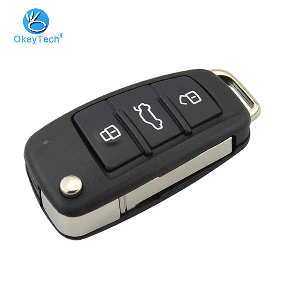 OkeyTech 3 Button Flip Folding Remote Car Key Shell Case Fob Housing HU66 HAA Uncut Blank Blade for Audi A6L A8 A2 A3 A4 Q7 TT