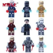 MTELE 9 pcs Iron Man Set figure Block Brick Avenger Tgor the Mighty Hulk Captain Vision