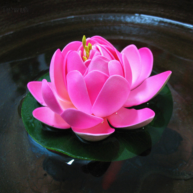 15pcs 10cm artificial pu lotus flowers diy home decoration