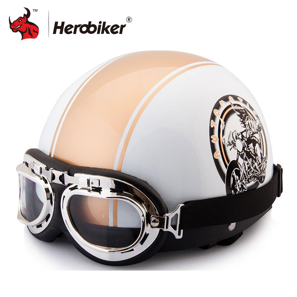 2018 New Motorcycle Helmets Outdoor Sport Moto Helmet Vintage Half Helmets Motorcycle Racing Helmet + Motocross Goggles moto adult leather harley helmets for motorcycle retro half cruise helmet prince motorcycle german helmet vintage motorcycle