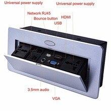 Múltiplas Saídas de Amortecimento da Mola Pop Up Tomada de Mesa HDMI VGA 3.5 MICROFONE de áudio de Rede USB RJ45 Caixa de Informações de vídeo Patera alta-gra