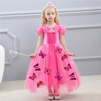Child Girl Cinderella Dress Festival Performance Princess Cinderella Fancy Cosplay Clothes For Party Summer Butterfly Vestido