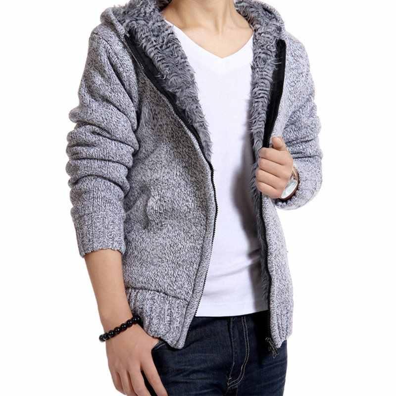 Осень-зима 2019, мужской свитер, пальто из искусственного меха, шерстяной свитер, куртки для мужчин на молнии, трикотажное толстое пальто, Повседневная вязаная теплая верхняя одежда