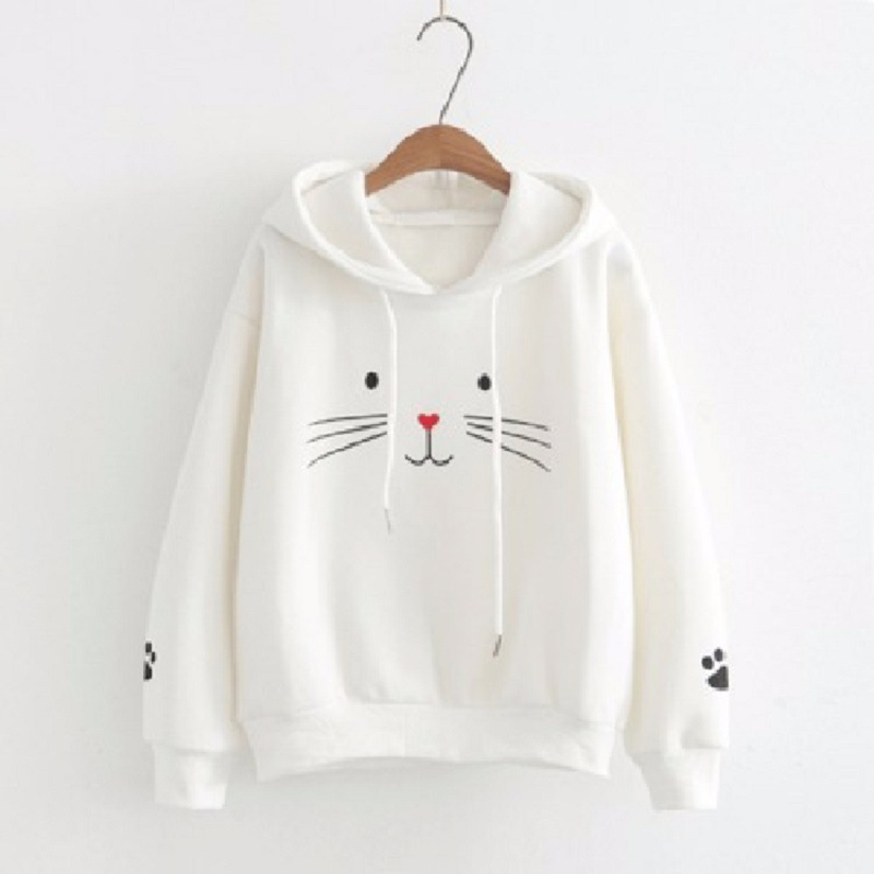 2018 New Fashion Autumn Winter Cute Cat Print Pullover Thick Loose Women