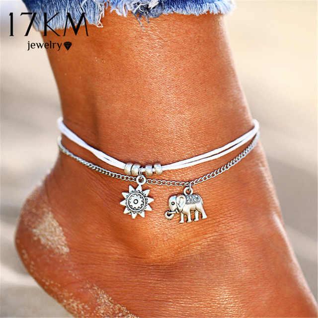 17KM Vintage yıldız fil halhal bilezik kadınlar için Boho kolye çift katmanlı halhal Bohemian ayak takısı hediye Drop shipping