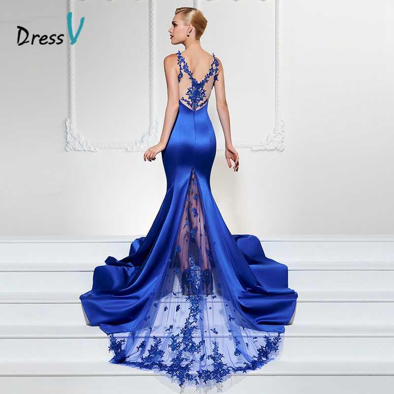 Dressv королевский синий длинное вечернее платье Sexy V шеи русалка развертки поезд роскошный вечернее платье труба кружева вечерние платья
