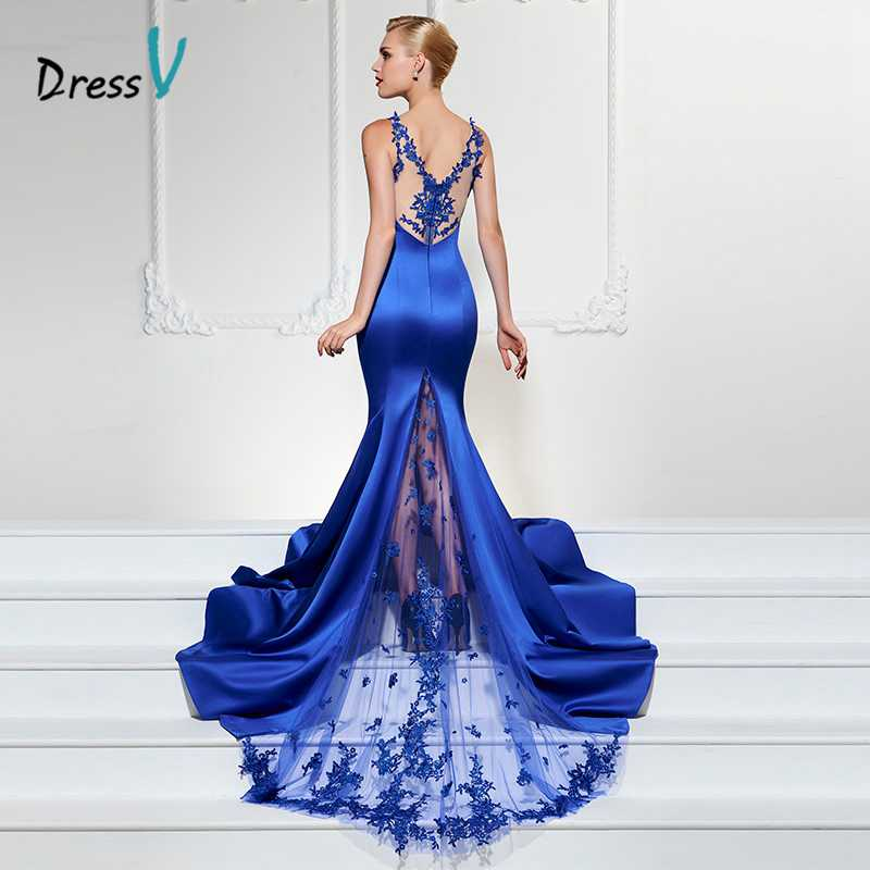 Dressv Royal Blue Long Evening Dress Sexy V Neck Mermaid Sweep Train Luxurious Formal Party Dress Trumpet Lace Evening Dresses