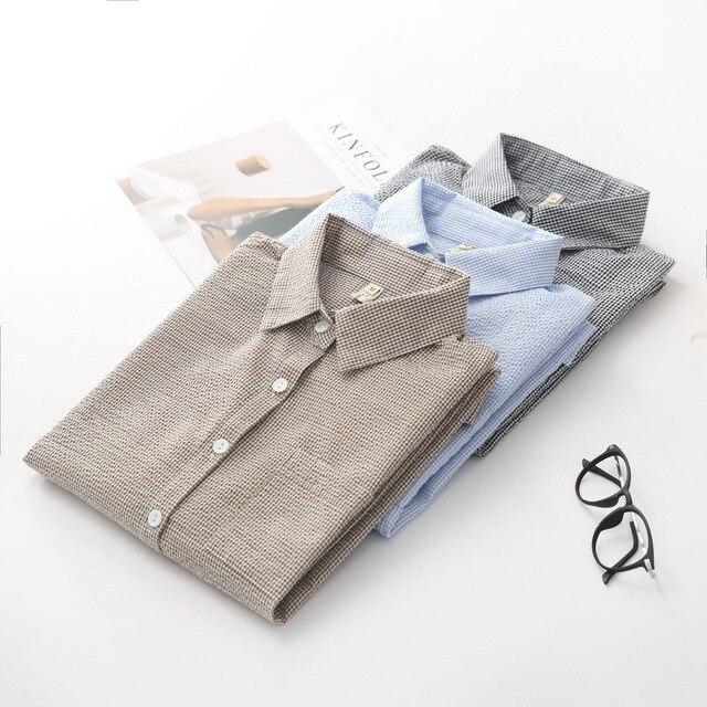 Весна Новый Клетчатую Рубашку Ретро Складки Свободные Женские Рубашки Женщины Блузка