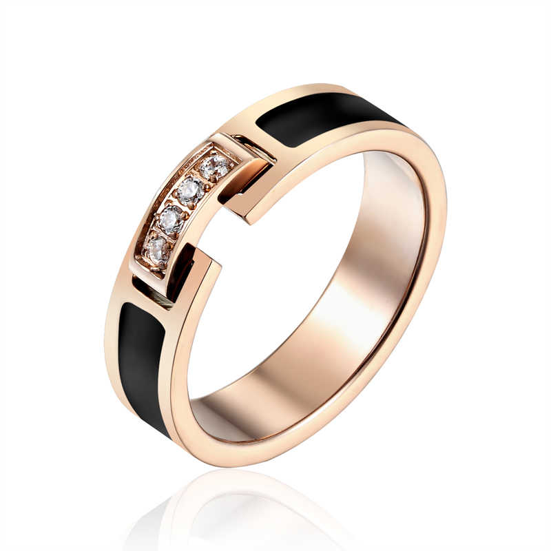 Hot Sale Classic Luxury Jewelry Black Side 4 Zircon Elegant Love Ring Titanium Steel Rose Gold Color Brand Ring For Women