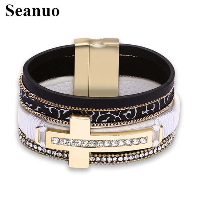 Seanuo Multi Layer Cubic Zirconia Cross Wrap Bracelet For Men Women Fashion Punk Magnetic Buckle Genuine