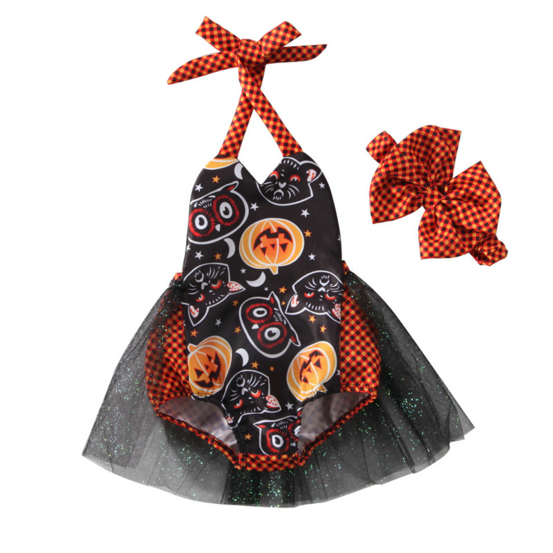 Toddler Kids Baby Girls Infant Halter Pumkin Print Halloween Costume Sequins Lace Tutu Romper Headband 2Pcs Clothing Sets 0-3Y baby girl 1st birthday outfits short sleeve infant clothing sets lace romper dress headband shoe toddler tutu set baby s clothes